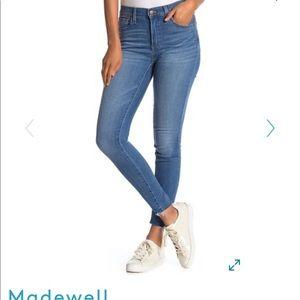 Madewell Mid Rise Raw Hem Skinny Jeans